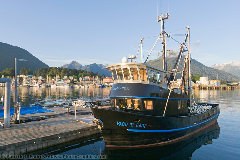 Commercial fishing boat Pacific Lady prepares seine net at the dock in the Sitka boat harbor, Sitka, Baranof Island, Southeast Alaska panhandle