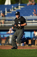 Umpire John Budka during a game between the Hudson Valley Renegades and Batavia Muckdogs on August 1, 2016 at Dwyer Stadium in Batavia, New York.  Hudson Valley defeated Batavia 5-1.  (Mike Janes/Four Seam Images)