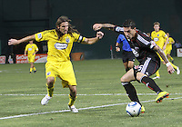 Santino Quaranta #25 of D.C. United controls the ball in front of Frankie Hejduk #2 of the Columbus Crew during a US Open Cup semi final match at RFK Stadium on September 1 2010, in Washington DC. Columbus won 2-1 aet.