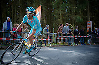 Michele Scarponi (ITA/Astana) cornering on top of the Côte de Stockeu (2300m/9.9%) <br /> <br /> 101th Liège-Bastogne-Liège 2015