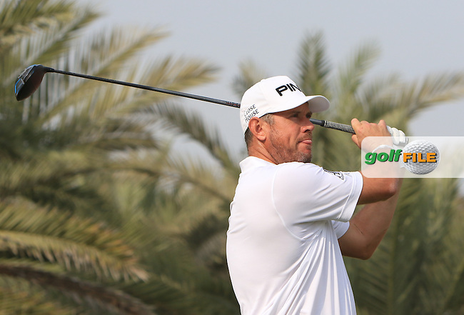 Lee Westwood (ENG) on the 14th tee during Round 1 of the Abu Dhabi HSBC Championship on Thursday 19th January 2017.<br /> Picture:  Thos Caffrey / Golffile<br /> <br /> All photo usage must carry mandatory copyright credit     (&copy; Golffile | Thos Caffrey)