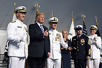 U.S. President Donald Trump participates in the U.S. Coast Guard Change-of-Command Ceremony as Adm. Paul F. Zukunft  (3-L) is  relieved by Adm. Karl L. Schultz (L) as commandant.on June 1, 2018 at the U.S. Coast Guard Headquarters in Washington, DC. <br /> CAP/MPI/RS<br /> &copy;RS/MPI/Capital Pictures