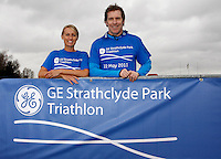 Photo: Richard Lane/Richard Lane Photography. GE Strathclyde Park Triathlon Media Event. 30/03/2011. Last year's elite women's winner, Jacqueline Slack and triathlonscotland coach of the year, Gordon Crawford launch the event.