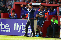 Gareth Ainsworth, Manager of Wycombe Wanderers during the Sky Bet League 2 match between Exeter City and Wycombe Wanderers at St James' Park, Exeter, England on 26 September 2015. Photo by Pinnacle Photo Agency.