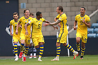 Rhian Brewster of Swansea City scores the first goal for his team and celebrates with his team mates during Millwall vs Swansea City, Sky Bet EFL Championship Football at The Den on 30th June 2020