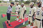 Palos Verdes, CA 05/07/11 - Grant Consoletti (Oak Park #10), Tommy Evans (Oak Park #7), Noboru Kobashigawa (Oak Park #28) and Conner Phillips (Oak Park #36)and Referee Gary Greenbaum during the coin toss ceremony.