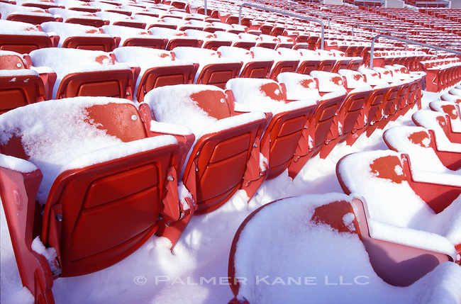 Seats at Dunn Tire Park hone of the Bisons covered in snow in the off-season