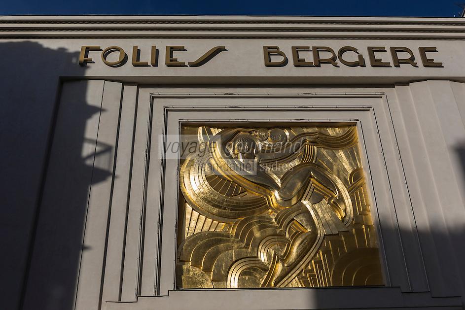 Europe,France,Ile-de-France,75009Paris:Le théâtre des Folies Bergères est une célèbre salle de spectacles parisienne inaugurée le 2 mai 1869 et toujours en activité.