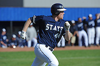 All American Paul Hoilman #44 of East Tennessee State University legs out a base hit at Greenwood Field against the the University of North Carolina Asheville on March 2, 2011 in Asheville, North Carolina.  East Tennessee State University won 13-5.  Photo by Tony Farlow / Four Seam Images..