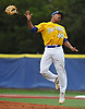 Jason Diaz #40, Kellenberg starting pitcher, reacts after striking out the final batter in the Nassau-Suffolk CHSAA varsity baseball championship against St. John the Baptist at Hofstra University on Monday, May 29, 2017. He tossed a shutout in Kellenberg's 1-0 win.