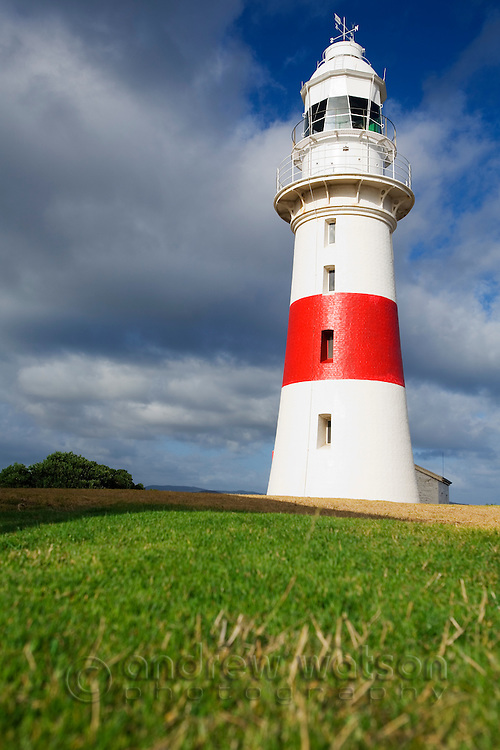 Low Head lighthouse - part of the Low Head Historic Precinct at the mouth of the Tamar River.  Low Head, Tasmania, AUSTRALIA