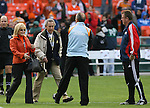 18 November 2007: Phil Anschutz (2nd from left), owner of the Houston Dynamo, and his wife Nancy (l) greet Dynamo head coach Dominic Kinnear (2nd from right) and Revolution head coach Steve Nicol (r) before the game. The Houston Dynamo defeated the New England Revolution 2-1 at RFK Stadium in Washington, DC in MLS Cup 2007, Major League Soccer's championship game.