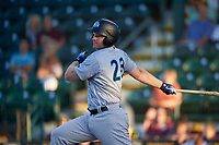 Tampa Tarpons designated hitter Adam Lind (23) follows through on a swing during a game against the Bradenton Marauders on April 25, 2018 at LECOM Park in Bradenton, Florida.  Tampa defeated Bradenton 7-3.  (Mike Janes/Four Seam Images)