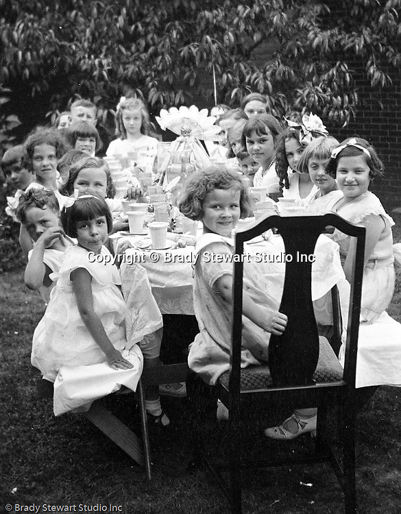 Wilkinsburg PA:  View of Sally Stewart's 7th birthday party in the backyard of the Stewart's Wilkinsburg home - 1931.