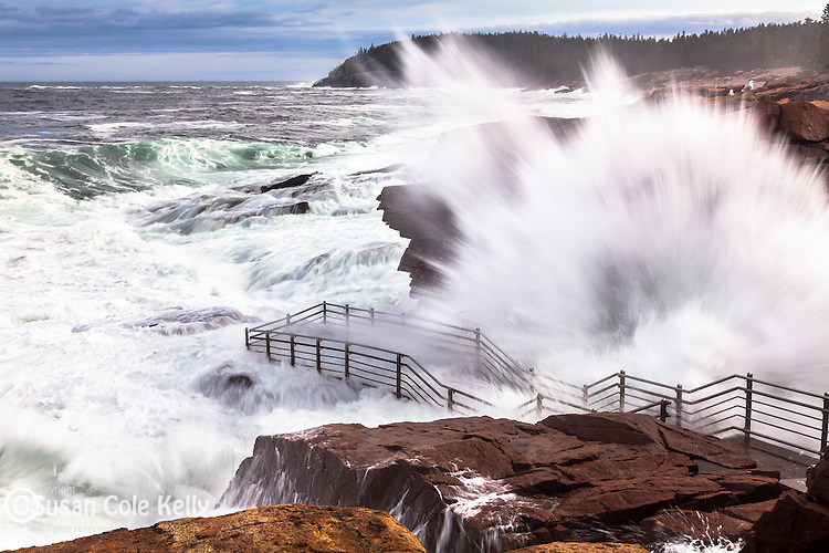 Storm waves at Thunder Hole in Acadia National Park, Maine, USA