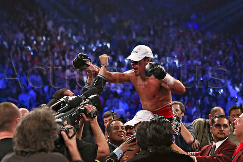 09.12.2012. Las Vegas, Nevada, USA. World Championship Welterweight Title fight.  Juan Manuel Marquez C of Mexico Celebrates After defeating Manny Pacquiao of The Philippines during their Welterweight Fight in Las Vegas. Marquez defeated  Pacquiao by a knock-out during The Sixth Round