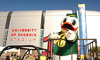 Jan 10, 2011; Glendale, AZ, USA; The mascot for the Oregon Ducks rides around the stadium in a cart before the 2011 BCS National Championship game against the Auburn Tigers at University of Phoenix Stadium.  Mandatory Credit: Mark J. Rebilas-
