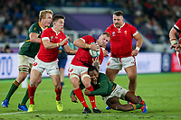 27th October 2019, Oita, Japan;  Ross Moriarty of Wales tackled by S'busiso Nkosi of South Africa during the 2019 Rugby World Cup semi-final match between Wales and South Africa at International Stadium Yokohama in Kanagawa, Japan on October 27, 2019.  - Editorial Use