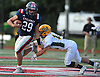 William Pickett #29 of South Side, left, rushes for a first down during a Nassau County Conference III varsity football game against Lynbrook at South Side High School in Rockville Centre on Thursday, Sept. 27, 2018. South Side won by a score of 28-13.