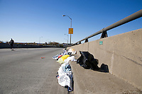 Discarded clothing and other trash litters the Verrazano-Narrows Bridge after the start of the ING New York City Marathon on Staten Island on 07 November 2010.