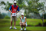 CHON BURI, THAILAND - FEBRUARY 17:  Michelle Wie of USA lines up a putt on the 17th green during day two of the LPGA Thailand at Siam Country Club on February 17, 2012 in Chon Buri, Thailand.  Photo by Victor Fraile / The Power of Sport Images