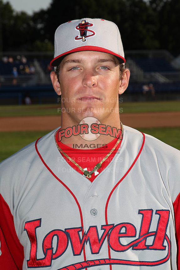 Lowell Spinners Catcher Sean Killeen poses for a photo before a game vs. the Batavia Muckdogs at Dwyer Stadium in Batavia, New York July 16, 2010.   Batavia defeated Lowell 5-4 with a walk off RBI single.  Photo By Mike Janes/Four Seam Images