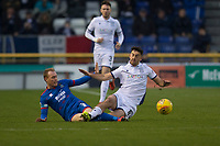 23rd November 2019; Caledonian Stadium, Inverness, Scotland; Scottish Championship Football, Inverness Caledonian Thistle versus Dundee Football Club; Carl Tremarco of Inverness Caledonian Thistle challenges for the ball with Shaun Byrne of Dundee  - Editorial Use