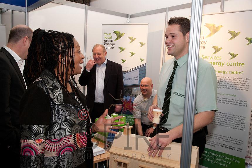 Christine O'Connor shares a laugh with Simon Shoulder of John A Stephens Builders Merchants