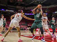 COLLEGE PARK, MD - FEBRUARY 03: Cydni Dodd #50 of Michigan State holds the ball away from Stephanie Jones #24 of Maryland during a game between Michigan State and Maryland at Xfinity Center on February 03, 2020 in College Park, Maryland.