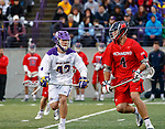 Josh Egan (#43) defends Richmond attacker Eric Hael (#4) as UAlbany Men's Lacrosse defeats Richmond 18-9 on May 12 at Casey Stadium in the NCAA tournament first round.