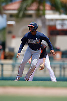 GCL Braves Joel Reyes (2) leads off second base during a Gulf Coast League game against the GCL Orioles on August 5, 2019 at Ed Smith Stadium in Sarasota, Florida.  GCL Orioles defeated the GCL Braves 4-3 in the second game of a doubleheader.  (Mike Janes/Four Seam Images)