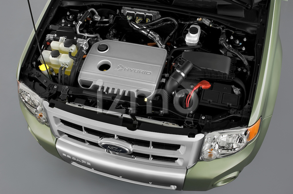 High angle of the engine on a 2009 Ford Escape Hybrid