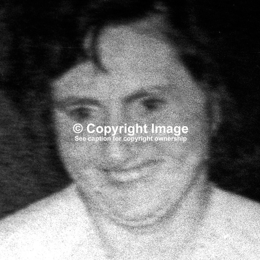 Mrs Christine Hughes, mother of 8, who was gunned down by UFF/UDA gunmen at her Belfast, N Ireland, home just three days before Christmas 1975. For more information see Lost Lives Obituary 1555. 197512220781CH...Copyright Image from Victor Patterson, 54 Dorchester Park, Belfast, United Kingdom, UK...For my Terms and Conditions of Use go to http://www.victorpatterson.com/Victor_Patterson/Terms_%26_Conditions.html