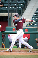 Reid Humphreys (12) of the Mississippi State Bulldogs bats against the Southern California Trojans at Dedeaux Field on March 5, 2016 in Los Angeles, California. Mississippi State defeated Southern California , 8-7. (Larry Goren/Four Seam Images)