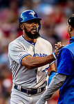 22 June 2019: Toronto Blue Jays outfielder Teoscar Hernandez returns to the dugout after scoring the game-tying run in the 8th inning against the Boston Red Sox at Fenway :Park in Boston, MA. The Blue Jays rallied to defeat the Red Sox 8-7 in the 2nd game of their 3-game series. Mandatory Credit: Ed Wolfstein Photo *** RAW (NEF) Image File Available ***