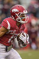 Hawgs Illustrated/BEN GOFF <br /> Deon Stewart, Arkansas wide receiver, returns a kickoff from Mississippi State in the fourth quarter Saturday, Nov. 18, 2017, at Reynolds Razorback Stadium in Fayetteville.