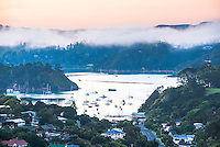 Misty sunrise at Russell, Bay of Islands, Northland Region, North Island, New Zealand