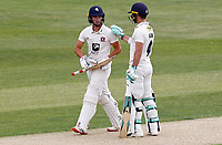 Heino Kuhn (right) of Kent congratulates Ollie Robinson on scoring fifty runs during Essex CCC vs Kent CCC, Bob Willis Trophy Cricket at The Cloudfm County Ground on 1st August 2020