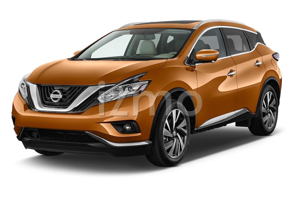 2015 Nissan Murano Platinum 5 Door SUV Angular Front stock photos of front three quarter view