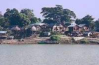 Myanmar, Burma, near Bagan.  Village Settlement on Banks of the Ayeyarwady (Irrawaddy) River.
