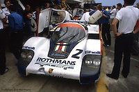 LE MANS, FRANCE: The Porsche 956 003 of Jochen Mass and Vern Schuppan in the pit lane before practice for the 24 Hours of Le Mans on June 20, 1982, at Circuit de la Sarthe in Le Mans, France.