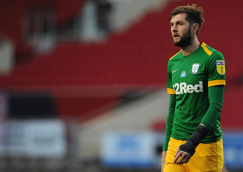 Preston North End's Tom Barkhuizen during the game<br /> <br /> Photographer Ian Cook/CameraSport<br /> <br /> The EFL Sky Bet Championship - Bristol City v Preston North End - Wednesday July 22nd 2020 - Ashton Gate Stadium - Bristol <br /> <br /> World Copyright © 2020 CameraSport. All rights reserved. 43 Linden Ave. Countesthorpe. Leicester. England. LE8 5PG - Tel: +44 (0) 116 277 4147 - admin@camerasport.com - www.camerasport.com