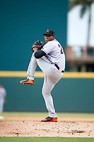 Jupiter Hammerheads starting pitcher Jorge Guzman (10) delivers a pitch during a game against the Bradenton Marauders on May 25, 2018 at LECOM Park in Bradenton, Florida.  Jupiter defeated Bradenton 3-2.  (Mike Janes/Four Seam Images)