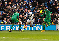 Brighton & Hove Albion's Solly March (centre) under pressure from  from Watford's Jose Holebas (left) & Etienne Capoue (right) <br /> <br /> Photographer David Horton/CameraSport<br /> <br /> The Premier League - Brighton and Hove Albion v Watford - Saturday 2nd February 2019 - The Amex Stadium - Brighton<br /> <br /> World Copyright © 2019 CameraSport. All rights reserved. 43 Linden Ave. Countesthorpe. Leicester. England. LE8 5PG - Tel: +44 (0) 116 277 4147 - admin@camerasport.com - www.camerasport.com