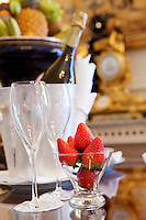 Welcome champagne and strawberries in a bedroom suite at the Hotel de Paris, Monte Carlo, Monaco, 21 March 2013