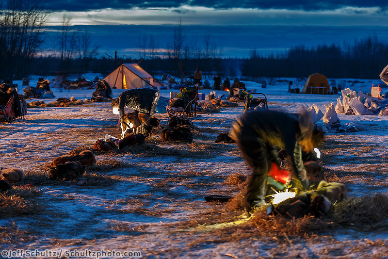 Mushers work by headlamp as dawn breaks at the Nikolai checkpoint during Iditarod 2016.  Alaska.  March 09, 2016.  <br /> <br /> Photo by Jeff Schultz (C) 2016 ALL RIGHTS RESERVED