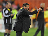D.C. United Head Coach Ben Olsen argues with referee after a call. The Houston Dynamo defeated D.C. United 4-0, at RFK Stadium, Wednesday May 8 , 2013.