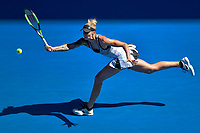 January 14, 2019: Polona Hercog in action in the first round match against 2nd seed Angelique Kerber on day one of the 2019 Australian Open Grand Slam tennis tournament in Melbourne, Australia. Kerber won 62 62. Photo Sydney Low