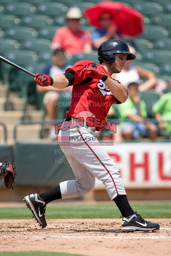 Nashville Sounds catcher George Kottaras # 28 swings against the Round Rock Express in Pacific Coast League baseball on May 9, 2011 at the Dell Diamond in Round Rock, Texas. (Photo by Andrew Woolley / Four Seam Images)
