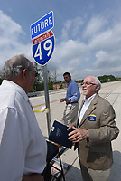 NWA Democrat-Gazette/FLIP PUTTHOFF <br />Dick Trammel of Rogers, chairman of the Arkansas Highway Commission (right), visits Wednesday May 10 2017 with Tom Schueck, vice-chairman of the commission.